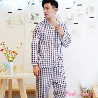 【PINK LADY】型男棉柔長袖成套睡衣 簡約格紋221-23 (咖)