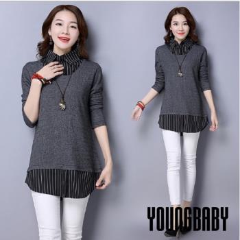 YOUNGBABY中大碼-灰色針織毛衣搭黑色直紋假兩件式上衣.黑