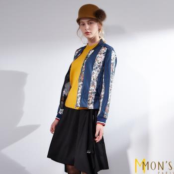 MONS法式質感名媛風拼接花卉造型外套