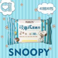 SNOOPY 史努比可沖式濕紙巾 40 抽 X 6 包(經濟包) 可安心丟馬桶  分解沖散