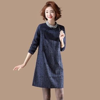 Amore 原創大碼蕾絲連衣裙秋裝女2018新款長袖娃娃領洋裝