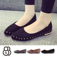【88%】包鞋-絨面材質 跟高1.5cm 低跟包鞋 淑女鞋 率性側鉚釘金屬質感設計