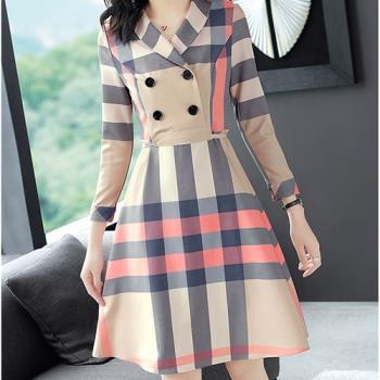 KW韓國.英式格紋氣質洋裝