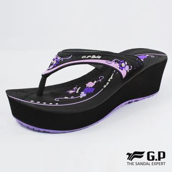 【G.P】女款厚底雕花夾腳拖鞋G8513W-杏色