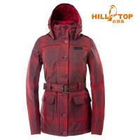hilltop山頂鳥 女款格紋防水蓄熱羽絨短大衣/皇家暗紅