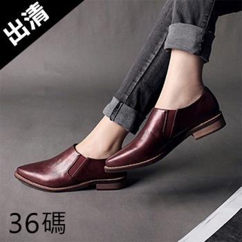 Alice 學院風英倫復古深口尖頭巴洛克鞋