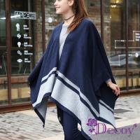 【Decoy】仰望藍天*灰條紋加大保暖斗篷式披肩