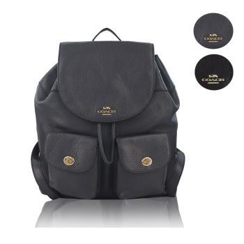 【COACH】荔枝紋皮革雙口袋旋鈕後背包(3色)