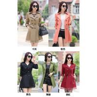 【A3】韓風雙排扣蕾絲修身長版風衣外套-現貨+預購-(五色)網