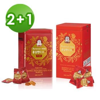 【正官庄】高麗蔘無糖糖果180Gx2罐 + 高麗蔘糖240gx1罐
