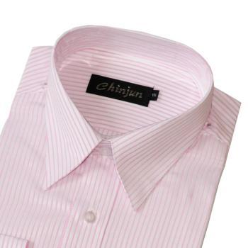Chinjun防皺襯衫長袖,白底粉緹花紋,編號CF-01