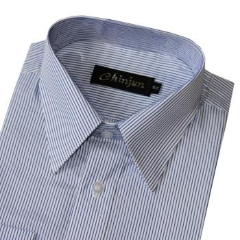 Chinjun防皺襯衫長袖,白底藍細條,編號2014-4