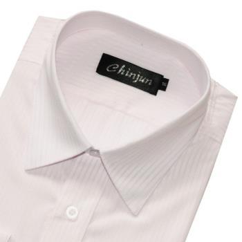 Chinjun防皺襯衫長袖,白底粉線條紋,編號k605