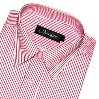 Chinjun防皺襯衫長袖,白底紅條紋,編號k-602