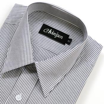 Chinjun防皺襯衫長袖,黑白相間條紋,編號8049