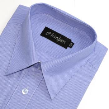 Chinjun防皺襯衫長袖,藍細條紋,編號8025