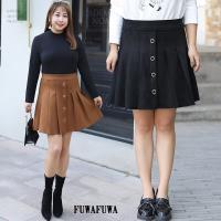 FUWAFUWA- -加大尺碼高腰麂皮百褶裙