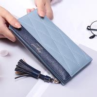 Acorn*橡果-韓版流蘇撞色長夾手拿包卡包手機包8607(藍色)