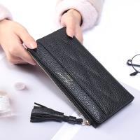 Acorn*橡果-韓版流蘇撞色長夾手拿包卡包手機包8607(黑色)