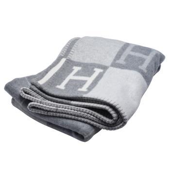 HERMES 經典Avalon III系列H LOGO格紋車線滾邊大毛毯(灰)