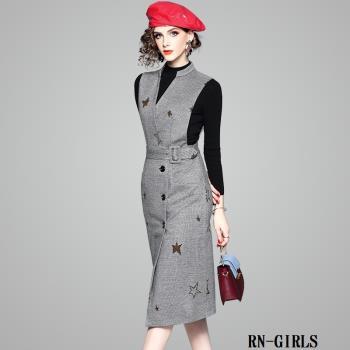 RN-girls-精品上班族優雅羊毛毛呢背心裙一步裙