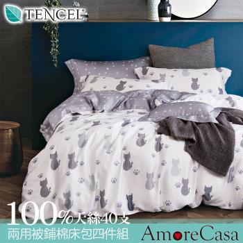 AmoreCasa 仰望星空 100%天絲40支特大兩用被鋪棉床包組