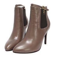 Robinlo 繞踝墜飾牛皮尖頭踝靴 PAMELA-棕色
