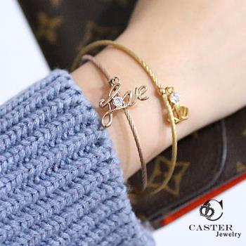 日本 凱斯特 CASTER 唯一的愛 玫瑰金手鍊 防抗過敏 SUS316L頂級不鏽鋼飾品  施華洛世奇swarovski手環