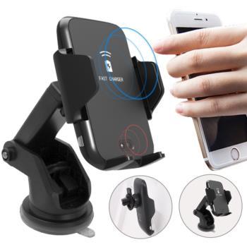 IS愛思 CA-Q08 紅外線感應自動開合車用Qi無線充電手機支架