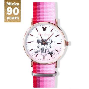 【Disney迪士尼】米奇90周年紀念 系列手錶 -  always love  米奇米妮  織帶錶
