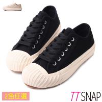 TTSNAP鬆糕鞋-帆布綁帶厚底增高平底鞋 黑/米