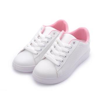 CK 全白雷射綁帶板鞋 白粉 女鞋 鞋全家福