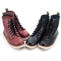 【 cher美鞋】MIT真皮英倫風格舒適平底中筒馬靴-黑色/紅色 36-40碼0731062557-18