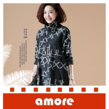 Amore 2018冬裝新款韓版寬鬆大碼中長款加厚高領套頭衛衣外套