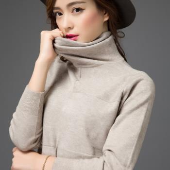 adora 韓版寬鬆堆堆領針織高領毛衣