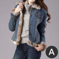 RH獨特可拆式鋪棉兔毛領保暖牛仔外套