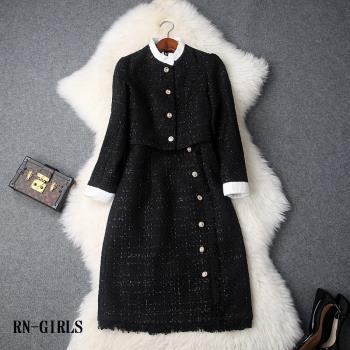 RN-girls--時尚精品粗花呢短外套+高腰背心裙流蘇裙邊兩件式套裝