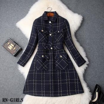RN-girls--時尚精品小香風格紋金線粗花呢外套+背心裙兩件式套裝
