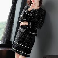 RN-girls--精品OL小香風粗花呢外套+短裙兩件式長袖套裝