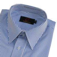 CHINJUNTON 細纖維防皺襯衫、藍白相間條紋款、編號:588-3