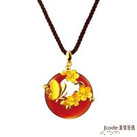 Jcode真愛密碼 彩蝶花語黃金/瑪瑙/水晶墜子 送項鍊
