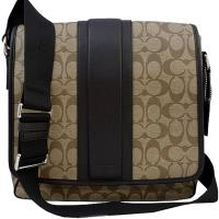 COACH 經典C LOGO皮革飾條PVC掀蓋斜背包-卡其色/咖啡