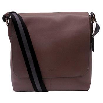 COACH新款全皮革磁扣上掀式書包/斜背包-咖啡色