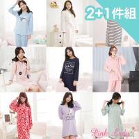 PINK LADY 福袋組-棉柔長袖睡衣x2+保暖法蘭絨/柔棉浴袍x1 共3件組