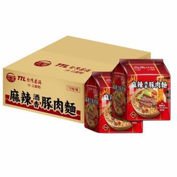 台酒TTL 麻辣酒香豚肉麵袋麵(12包入/箱)