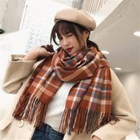 【米蘭精品】圍巾仿羊絨披肩-經典格子流蘇兩用女配件6色73ub25