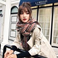 【米蘭精品】圍巾仿羊絨披肩-彩色條紋保暖加厚女配件3色73ub45