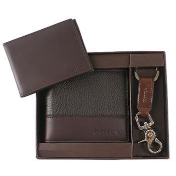 COACH全皮荔枝紋六卡中夾+鑰匙圈超值禮盒組(咖啡色)