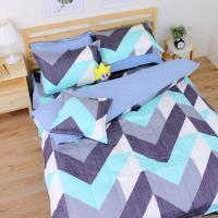 艾莉絲-貝倫 卡布里(3.5x6.2呎)五件式單人(100%純棉)鋪棉床罩組-藍色