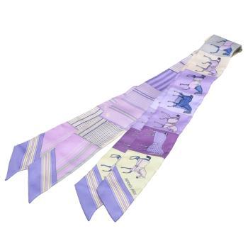 HERMES 愛馬仕Couvertures Nouvelles馬匹圖案Twilly絲巾領結(粉紫-一組兩條)